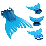 3 Pièces Maillot de Bain Princesse Queue de Sirène Mermaid Bikini(Il y a la Boucle au Bas de la Queue,Pouvez Ouvrir Marcher Fermer Ajouter Monopalme) (Taille Unique, Couleur Unique)