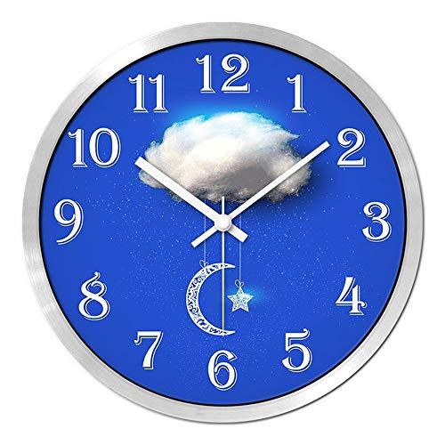 CWJ Uhr-Wanduhr Metall einfache Persönlichkeit ruhig 12 Zoll / 14 Zoll personalisierte Mode Uhr kreative stumme Uhr Moderne Esszimmer Uhr Wanddekoration Kunstwerk,14inches,Silberner Rand -