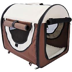 Outsunny - Trasportino/cuccia da trasporto per cani/gatti e animali domestici - M 61x46x51cm - caffè