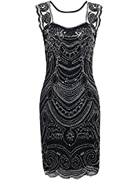 PrettyGuide Women's 1920s Embroidery Sequin Deco Cocktail Gatsby Flapper Dress