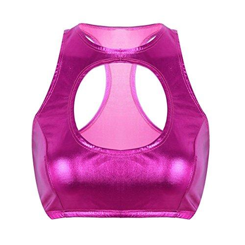 YiZYiF Frauen Fitness Oberteil Cut Out Dessous Wetlook Top Neckholder Crop Top Bustier-BH Weste Gogo Clubwear Sommer Mode A Rose X-Large - Cut-out-bh-top -