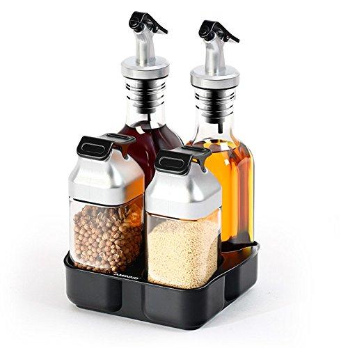 Stehlen Rostfrei Multifunktional Pfefferstreuer,Glas Drehen Feinheit Zuhause Pulverisiert Gewürze Zoll Geschirr Salz Chili Pfeffer Gewürz Öl Pfeffermühle Krug-A