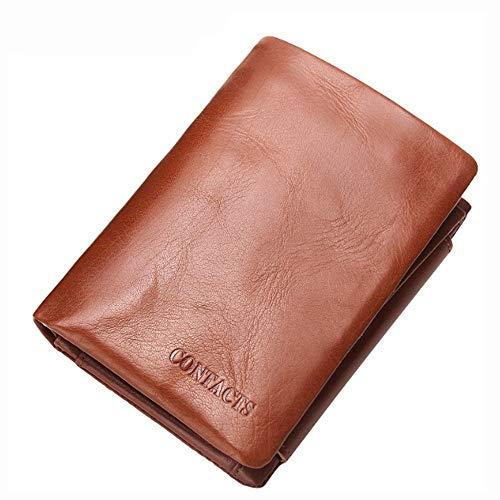Leder Tri-fold Brieftasche (Duhongmei123 Männer Brieftasche Rindsleder Geldbörse Casual Kurze Öl Wachs Leder Brieftasche Männer Tri-Fold Bag (Color : Brass, Size : S))