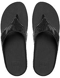 Fitflop Ringer Sequin Toe-Post Sandals Black