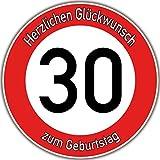 Tortenaufleger Fototorte Tortenbild Warnschild 30. Geburtstag rund 20 cm GB06