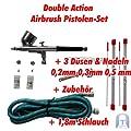Agora-Tec Airbrush Pistole Kit AT-AK-01 mit 1,8 m Schlauch und 3 verschiedenen Düsen und Nadeln (0,2 mm 0,3mm 0,5 mm) von Agora-Tec bei TapetenShop