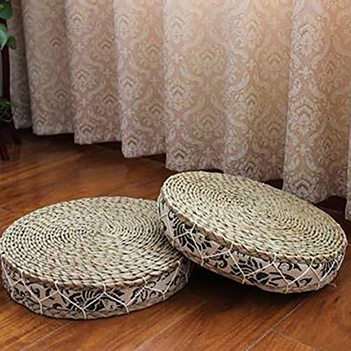 MSM Runde Sitzkissen Handmade, Stroh Rattan Futon Gepolsterte Japaner Tatami Bodenmatratze Bay-Fenster Meditation Yoga-Matte-b 40x40x6cm - Rattan-futon