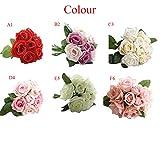 DICPOLIA artificielles Roses Bouquets de Demoiselle d'honneur pour Mariage 9têtes...