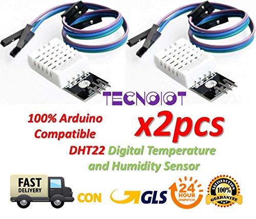 TECNOIOT 2pcs DHT22 Digital Temperature Humidity Sensor AM2302 Module with PCB And Cable   2pcs DHT22 / AM2302 Sensor de Temperatura y Humedad para Arduino y Raspberry Pi