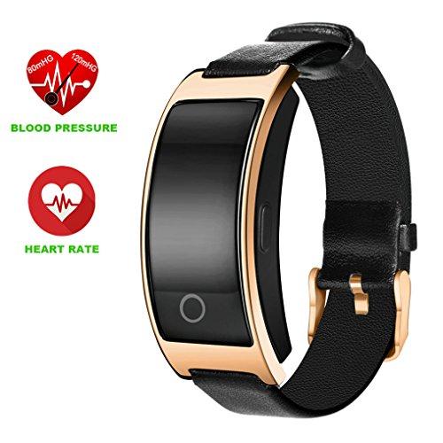 Sport-Armbanduhr, ZIMINGU SK11S Bluetooth Smart-Armband mit Messung von Blutdruck, Herzfrequenz, Fitnesstracker, Smart-Band für Android und iPhone, Vatertagsgeschenk, gold