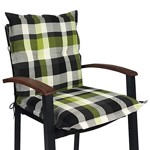 Niedriglehner Auflage für Gartenstühle 100x50x8cm - Premium Stuhlauflage mit Komfortschaumkern und Bezug 100{439310175a148102ad3ae27d871b4ab6103cddd04c26fcb1eb2ca680c5ec3bc9} Baumwolle - Sitzauflage Made in EU / ÖkoTex100, Design:Karo Grün, Anzahl:8er Set