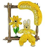 """Fuoriporta tema Pasqua con CONIGLIO e scritta """"BUONA PASQUA"""". Realizzato in legno, coniglio e dettagli in Carta pesta e tessuto. Da appendere dentro o fuori casa."""