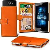 (Orange) Archos 50d Helium 4G Hülle Abdeckung Cover Case schutzhülle Tasche Verstellbarer Feder Mappe Identifikation-Kartenhalter-Kasten-Abdeckung ONX3
