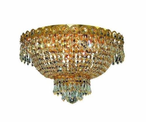 4 Ss Crystal (Elegant Lighting 1900F16G/SS Century Collection 4-Light Flush Mount Swarovski Strass/Elements Crystal with Gold Finish by Elegant Lighting)