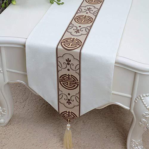 GZ Kurze weiße braune Blumenmuster Tuch Tischläufer Moderne einfache Mode gehobenes Wohnzimmer Küche Restaurant Hotel Heimtextilien,33 * 150 cm
