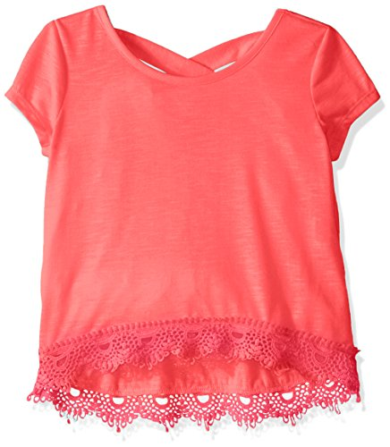My Michelle Big Girls' Short Sleeve Knit Top With Crossover Back and Lace Hemline Detail, Apricot, X-Large (Sleeve Knit Short Top Mädchen)