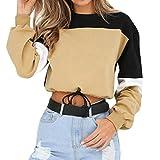 Tops Damen Oberteile DOLDOA Spleißen Farbe Sweatshirt Pullover Langarm T-Shirt Bluse