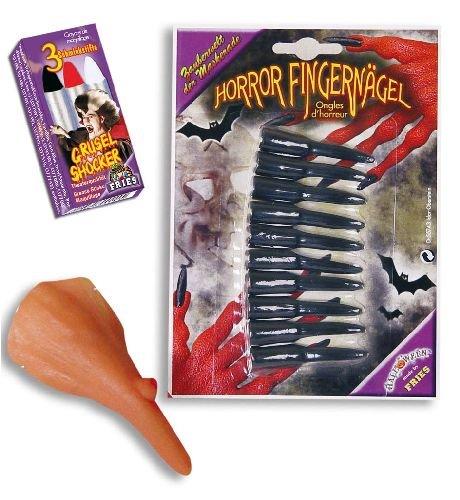 Hexen Set Hexenset 3tlg Set: Hexen-Nase,Fingernägel,Schminkstifte