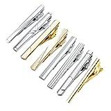 Zysta Herren-Krawattenklammer-Set mit 8 verschiedenen Krawattenklammern in klassischem Stil aus Edelstahl, Farben Silber, Gold, Schwarz, mit Geschenkverpackung, 8 Stück
