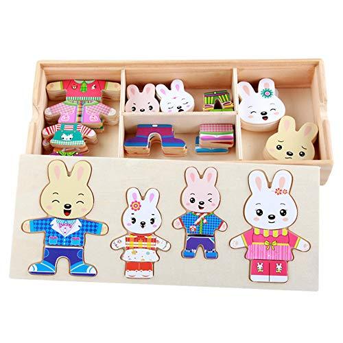 ZMH Dress Up Kaninchen Familie Holzpuzzle 72 PCS Frühe Lernspielzeug Set, Tier Dress-Up-Spiel Kinder Pretend Play Kit Geschenk für Alter 2 3 4 Jahre Alter Junge Mädchen (Up Familie Dress)