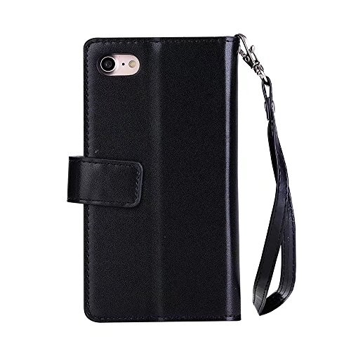 JIALUN-Telefon Fall 9 Card Slots PU Leder Flip Stand Geldbörse Case Cover mit Reißverschluss & Lanyard & Kickstand für iPhone 7 ( Color : Black ) Black