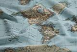 Stoff Baumwolle Polyester Weltkarte Landkarte Karte