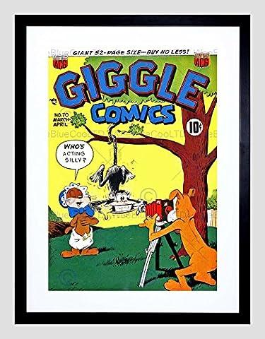 SUPER HERO COVER ACG BOOK GIGGLE 70 VINTAGE RETRO COMIC FRAMED ART PRINT B12X430