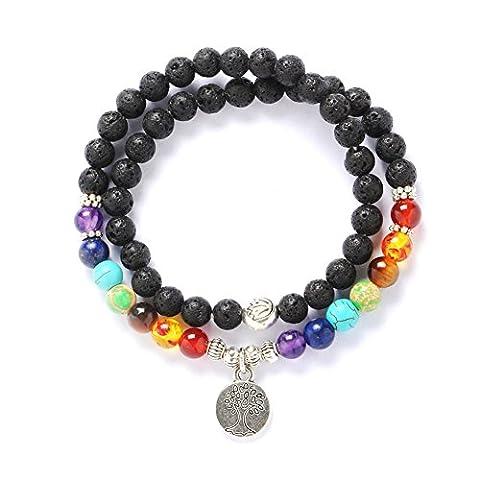 Stillshine - Chakra Yoga Balancing Runde Stein Perlen Elastische Natürliche Perle Kette, Charm Herren Frauen Geschenkbox (Stil 11)