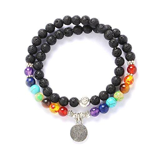 Stillshine - Chakra Yoga Balancing Runde Stein Perlen Elastische Natürliche Perle Kette, Charm Herren Frauen Geschenkbox (Stil (Trachten Party Home Schmuck)