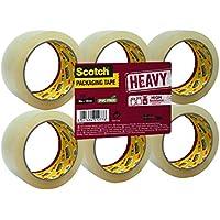 Scotch - Cinta de embalaje de alta resistencia, color transparente en pack con 6 rollos encelofanados en plano