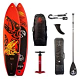 RUNGA TOA AIR 10.6 Inflatable SUP mit 25PSI / 1,7Bar max Druck iSUP Stand UP Paddle Board + Bravo DOPPELHUB-PUMPE + Teil-Carbon PADDEL