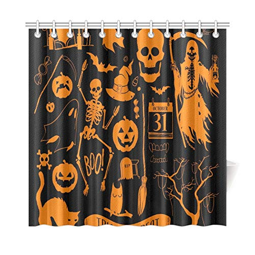 EIJODNL Home Decor Badevorhang Vektor Halloween Dekorationsset Halloween Design Polyester Stoff Wasserdicht Duschvorhang für Badezimmer, 182,9 x 182,9 cm Duschvorhänge Haken enthalten