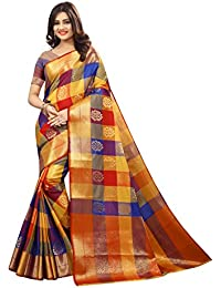 Silk Zone Women's Silk Kanjivaram Style Saree With Blouse( MB0004,Multicolor,Free Size )