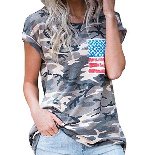 JUTOO Frauen Casual Kurzarm Camouflage Bluse T-Shirt -