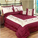 Single Bed Burgundy Sapphire Floral Modern Bedspread Quilted Comforter Throw Luxury Embroided Embellished