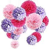 15er Set Pompoms Deko Bunt Seidenpapier Pompons für Hochzeit, Geburtstag, Party Lila Rosa Rot (3pcs*30.5cm/6pcs*25cm/6pcs*15.5cm)
