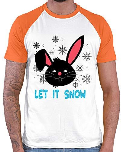 HARIZ  Herren Baseball Shirt Let It Snow Hase Weihnachten Xmas Schnee Winter Plus Geschenkkarten White/Orange XL (Snow White T Shirt Kostüm)