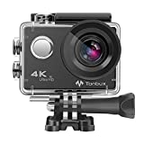 4K Action Camera Tonbux Action Cam Wifi Sport Camera da 16 MPX con custodia impermeabile e 2 Batterie 1050 mAh, Obbiettivo Fish Eye da 170° e LCD da 2', Cam Subacquea Action Camera con Kit di 18 Accessori incluso, Reso Garantito Fino a 60 Giorni (Colore Nero)