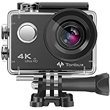 4K Action Kamera Tonbux 4K Action Cam Wifi Helmkamera Tauchen 2 Zoll wasserdicht 170 ° Weitwinkel /2x1050mAh Akku/Zubehör Kit für Tauchen,Motorrad,Fahrrad fahren und Schwimmen,60-Tagen-Rückerstattung-Garantie