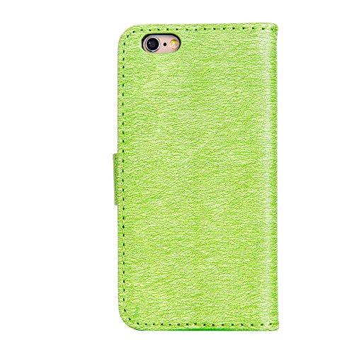 KaseHom iPhone 6/6S 4.7 Pollice Custodia in pelle Portafoglio Ragazza di Fairy Angel Carina GattoFarfallaFiore Modello ProgettareBlingLuccichio Sparkle Diamante (Con Gratuito Penna di Tocco) Stile Verde