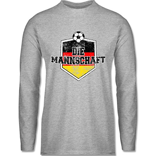 Shirtracer Fußball-WM 2018 - Russland - Deutschland- Die Mannschaft Vintage - Herren Langarmshirt Grau Meliert