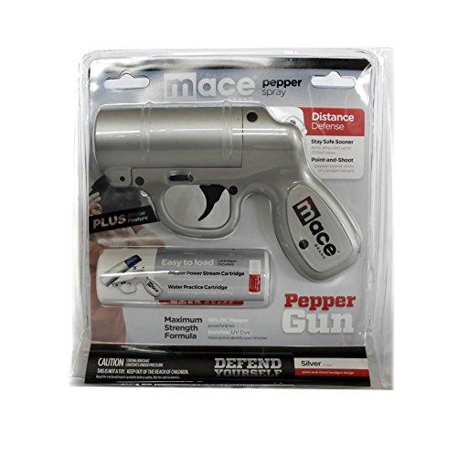 Spray Mace Gun (Mace Pepper Gun -silver- Tierabwehr Pistole mit LED Blitzlicht inkl. 2 Kartuschen)