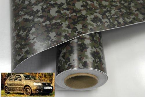 Könighaus (11,18€/m2) Woodland Digital Camo 200 x 152 cm blasenfrei mit Anleitung (Camouflage Autofolie)