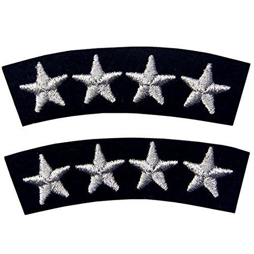 Navy Uniform Vier Sterne Gestickte Mode Dekorative Eisen Auf Nähen Auf Patch, Silber, 2er (Sie Ihr Machen Für Eigenes Mädchen Kostüm)