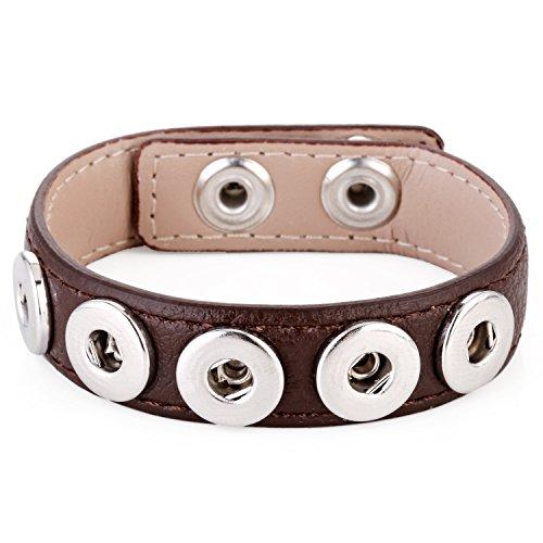 Morella® Damen Armband für SMALL Click-Button Druckknopf 12 mm Ø - Braun