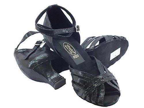 Latino Americain chaussures de danse pour femme-Noir satin 50E talon Noir