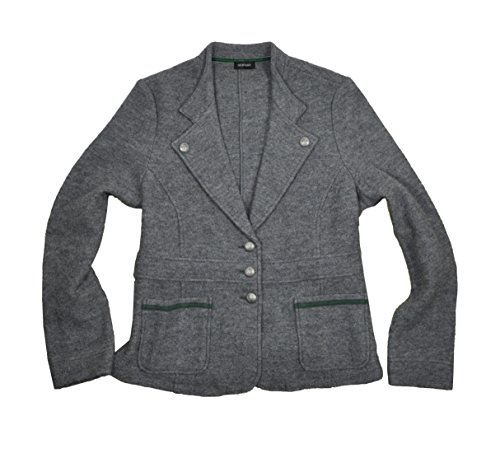 Damen Trachten Jacke aus reiner Schurwolle in Blazerform, Farbe Grau, Größe:44;Farbe:Dunkelgrau
