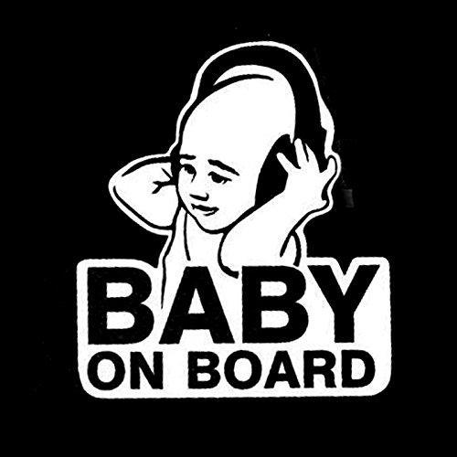 Auto Aufkleber Baby on Board weiß 11x12,5cm groß lustig cool Car Sticker Boy Junge