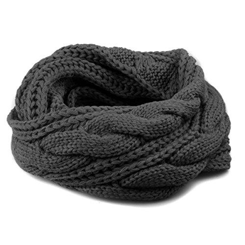 Stofirst inverno donne uomini torcere intrecciato elastico caldo circle loop snood sciarpa unisex tinta unita a maglia crochet tubo infinity scaldacollo fazzoletto da collo(nero)