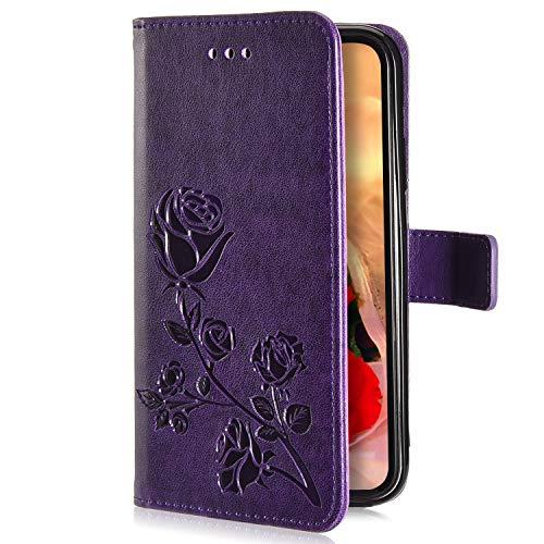Uposao Kompatibel mit iPhone 6S Plus 5.5 Handyhülle Handytasche Rose Blumen Muster Leder Wallet Schutzhülle Brieftasche Hülle Klapphülle Brieftasche Tasche Flip Case Kartenfächer,Lila